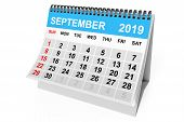 2019 Year September Calendar On A White Background. 3d Rendering poster