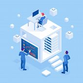 Isometric Concept Of Business Analysis, Analytics, Research, Strategy Statistic, Planning, Marketing poster