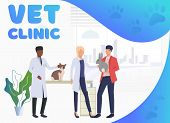 Rabbit And Cat Owner Visiting Veterinarians In Vet Clinic. Pet Treatment, Consultation, Animal Conce poster