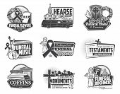 Funeral Ceremony And Hearse Services Isolated Monochrome Logos. Vector Burial Flowers And Wreaths, C poster