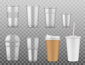 Empty Disposable Plastic Or Paper Cups With Cover And Straw Isolated On Transparent. Vector Takeaway poster