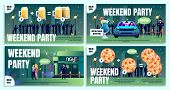City Bar, Beer Pub Or Nightclub Weekend Party Flat Vector Advertising Banner, Poster Or Flyer Templa poster