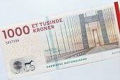 Danish Krone And Cash. Danish 1000 Banknotes On White Background. poster