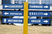 picture of human resource management  - Business goals and direction as showed in a street direction sign - JPG