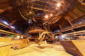 stock photo of blast-furnace  - Panorama of blast furnace workshop of metallurgical plant - JPG