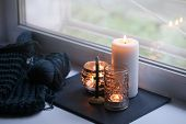 Candle And Aroma Stick On Windowsill. Concept Of Relax, Tranquil, Peaceful, Unplug, Balanced Time, K poster