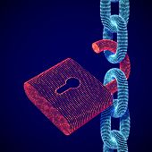 Digital Data Security And Privacy Concept: Digital Open Red Padlock On Chain. Personal Or Business I poster