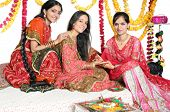 Traditional Indian Ladies Celebrating Colors Of India.