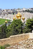 stock photo of church mary magdalene  - view of Jerusalem from the top of the Mount of Olives - JPG