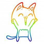 rainbow gradient line drawing of a happy cartoon cat meowing poster