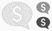 Mesh Money Message Model With Triangle Mosaic Icon. Wire Frame Polygonal Mesh Of Money Message. Vect poster