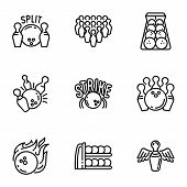 Bowling Game Icon Set. Outline Set Of 9 Bowling Game Vector Icons For Web Design Isolated On White B poster