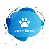 White Paw Print Icon Isolated On White Background. Dog Or Cat Paw Print. Animal Track. Abstract Bann poster