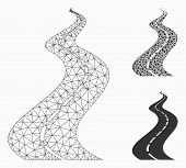 Mesh Far Way Road Model With Triangle Mosaic Icon. Wire Frame Polygonal Mesh Of Far Way Road. Vector poster