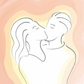 stock photo of adultery  - an illustration of two people kissing - JPG