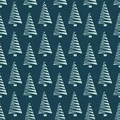 Hand Drawn Stylized Christmas Tree Pattern. Geometric Abstract Fir Forest On Green Background. Cute  poster