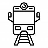 Arriving Train Front View Icon. Outline Arriving Train Front View Icon For Web Design Isolated On Wh poster