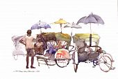picture of peddlers  - lots of trishaw peddler in watercolor fine art painting - JPG