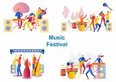 Set Of Bands Performing On Stage. Men And Woman Artists Outfit Playing With Musical Instruments, Mus poster