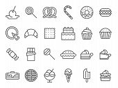 Sweet Dessert Icons. Sweetly Cake, Sweets Ice Cream And Muffin Cakes. Desserts Line Art Pancakes, Ce poster