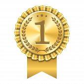 Award Ribbon Gold Icon Number First. Design Winner Golden Medal 1 Prize. Symbol Best Trophy, 1st Suc poster