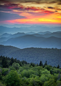 image of smoky mountain  - Blue Ridge Parkway Scenic Landscape Appalachian Mountains Ridges Sunset Layers over Great Smoky Mountains National Park - JPG