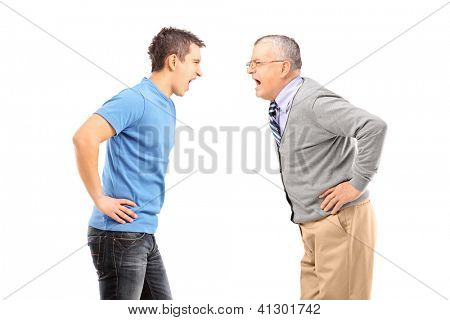 Angry father and son having an argument, isolated on white background