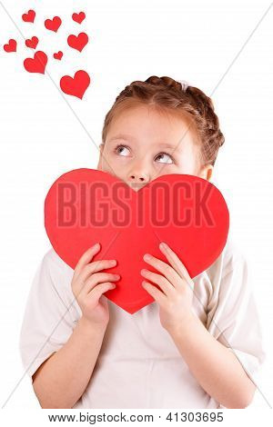 Pretty Little Girl With A Big Red Heart For Valentine's Day