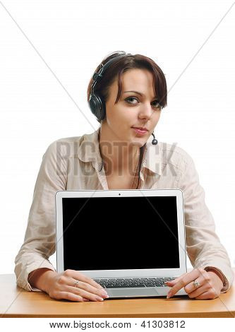 Cheerful Woman In The Headset And With A Computer