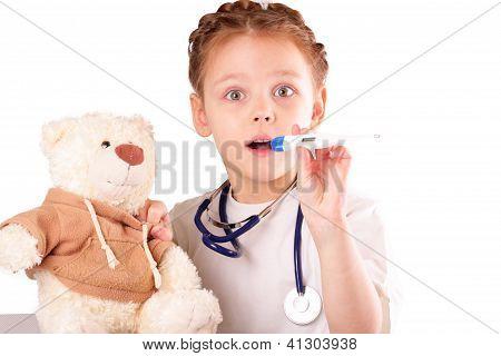 Surprised Little Doctor Girl