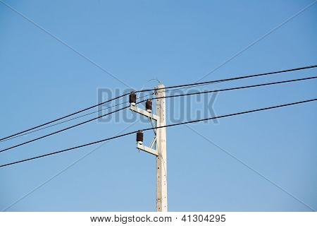 Power Cable Lines With Blue Sky