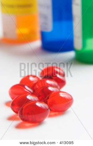 Red Pills And Prescription Bottles