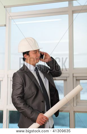 Portrait  Architect Talking On The Phone
