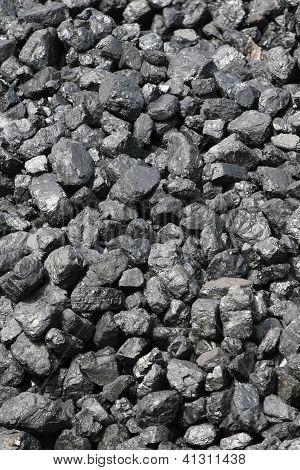 Closeup of pile of coal