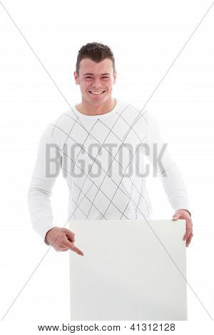 Beaming Man Pointing To A Blank Sign