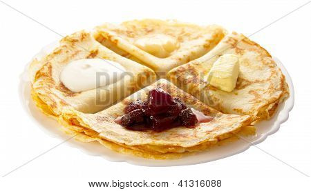 Pancakes With Different Fillings On The Plate
