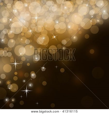 Abstract Golden Festive Background With Sparkles Flying