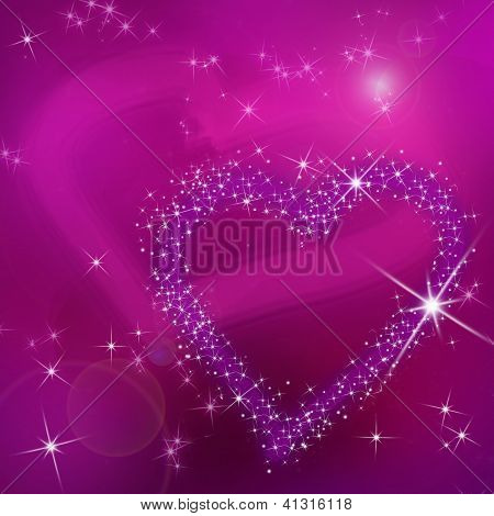 Abstract Pink Background With Shining Purple Hearts To The Day Valentine