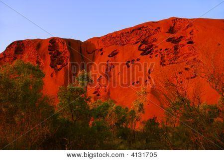 Red Rock Hillside At Sunrise.