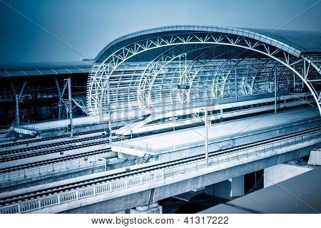 subway station of shanghai chian.modern building concept.