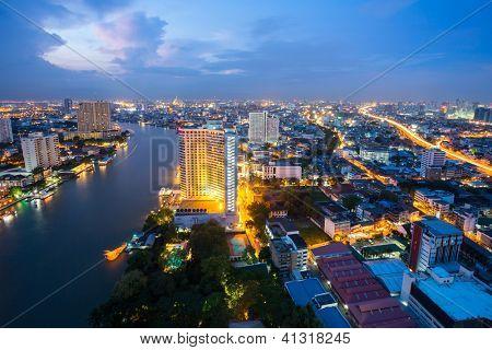 Aerial view of Bangkok Skyline along Chaophraya River at dusk