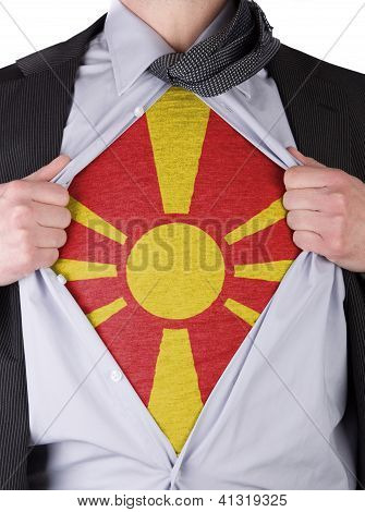 Business Man With Macedonian Flag T-shirt