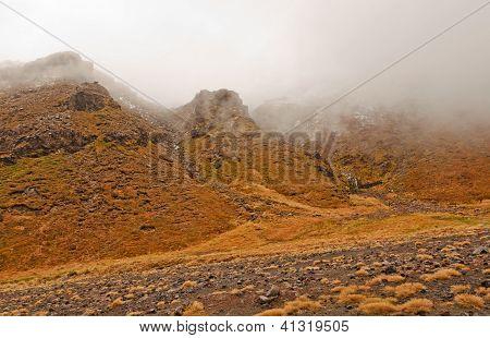 Volcanic Landscape On Snowy Day