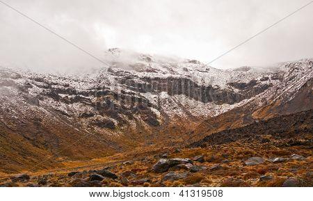 Volcanic Peak In Spring Snow