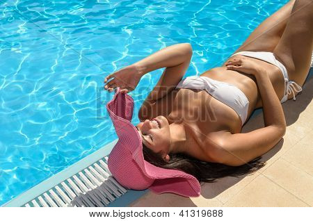 Happy Woman Relax At Poolside