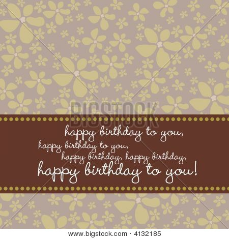 Birthday Card With Retro Flower Background