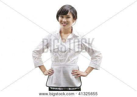 Portrait of a happy Asian house cleaner over white background