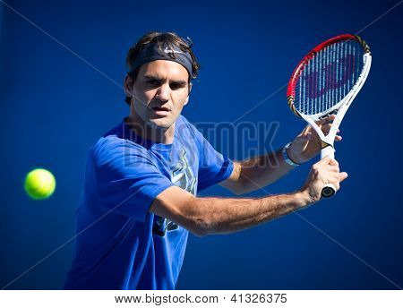 MELBOURNE - JANUARY 19: Roger Federer of Switzerland in a practice sessionat the 2013 Australian Open on January 19, 2013 in Melbourne, Australia.