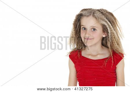 Portrait of school girl in red outfit over white background