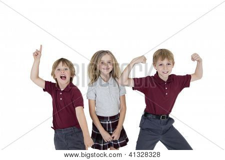 Cheerful school children over white background